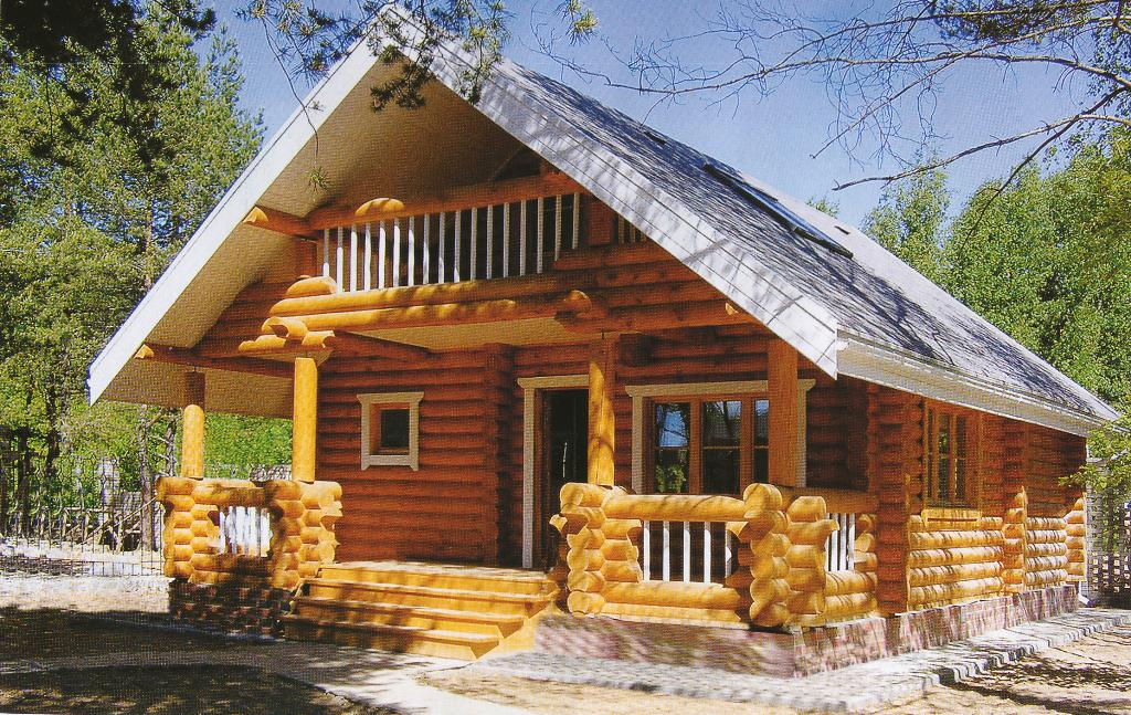 Деревянный дом из оцилиндрованного бревна и бруса под ключ.